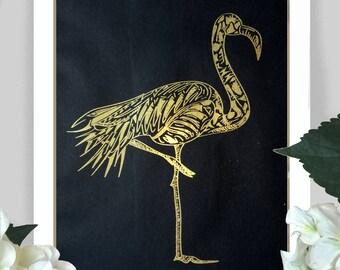 Flamingo illustration in gold / copper foil - Flamingo Tropical Present Gold Copper Foil Print Original Illustration Flamingo Design Gift