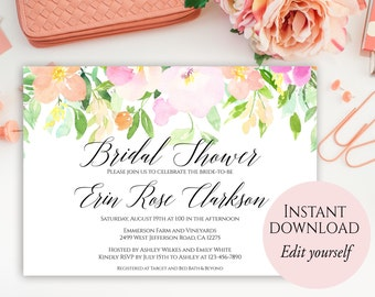Spring Bridal Shower Invitation, Editable Template, Bridal Shower Invitation, Bridal Shower Invites, Pastel Bridal Shower Invite, DIY invite