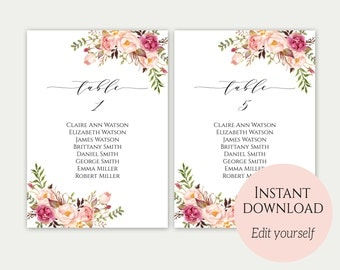 Wedding Seating Chart Template, Seating Cards, Seating Chart Sign, Seating Chart Template, Editable Seating Chart, Instant Download, Floral