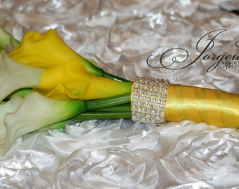 Calla Lily Bridesmaids Bouquet With Rhinestones and Pearls....Set of 3 , Bridal Bouquet, Destination Wedding Bouquets, Bridesmaids Bouquet,