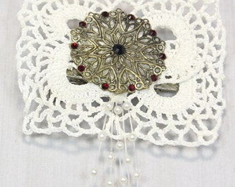 Handmade Victorian Inspired White Crochet Motif Brooch Hair Clip With Metal Stamping Decorated With Red And Black Diamontes