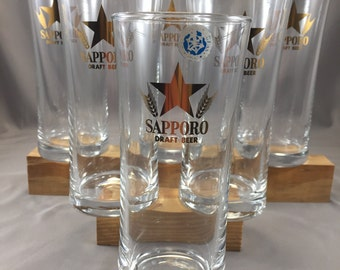 Sapporo Beer Glasses, Promotional glasses, Japan, Japanese beer, Mancave, NWT, Home Bar, Summertime, Patio, Outdoor Entertaining, Set of 6