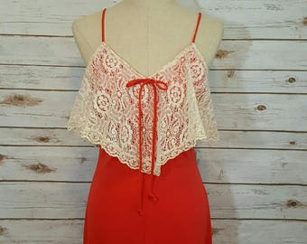 Vintage, 70's, Red summer maxi dress with lace flounce detail, Small/Medium