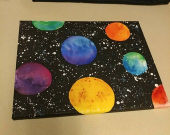 Night Sky Planet Canvas Painting