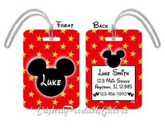 Mickey Mouse Luggage Tag, Personalized, Bag Tag, Disney Luggage Tag