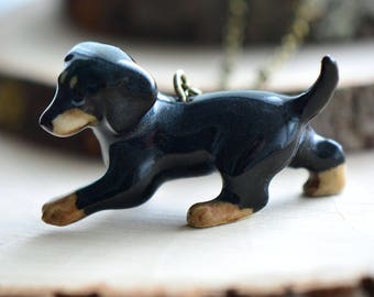 Hand Painted Porcelain Dachshund Weiner Dog Necklace, Antique Bronze Chain, Vintage Style, Ceramic Animal Pendant & Chain (CA031)