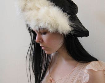 RARE 1900s black silk and goose feather hat