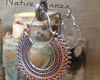 Sliver tribal hoop earrings,,boho,gypsy earrings,sliver jewllery, tribal jewellery,gypsy hoops,hoops