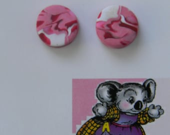 Raspberry Swirl - Circle studs