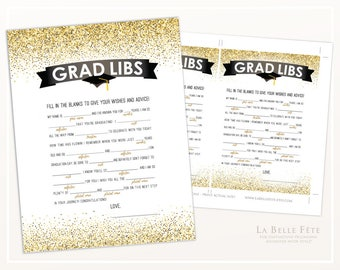 GRAD Libs (Mad Libs) Game in Gold Glitter / printable diy