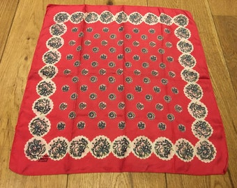 Liberty Vintage Paisley Floral Red Square Scarf Silk 1950s