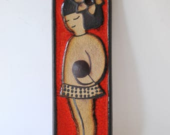 Noomi Backhausen Soholm, Denmark. Modernist Wall Hanging. Wall plaque, Danish modern pottery Nordic design. Collectible