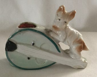 Antique Lusterware Figural Scottie Dog on Banjo Pin Cushion