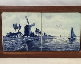 Vintage Delft Windmill and Sailboat Scene Double Tile Cheeseboard