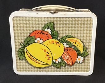 Vintage Ohio Art Fruit Basket Pattern Metal Lunch Box