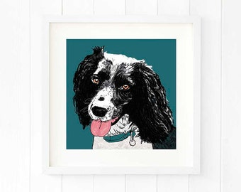 Springer spaniel print, portrait from photo, springer spaniel art, dog art, dog portrait, pet portrait artist, digital pet painting gift