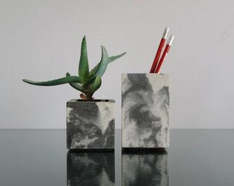 Unique set of 2 - Black and white concrete Pencil Holder and Planter, Paintbrushes holder, Pen holder, Makeup Brush Holder, Concrete Cup
