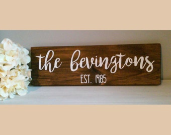 Established Wooden Rustic Family Sign / Wedding / Anniversary/ Gift / Farmhouse / Last name / Personalized Wooden