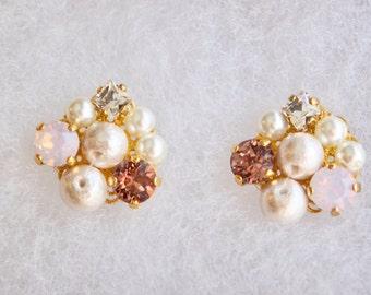 Pink Swarovski earrings pink opal stone cluster earrings bridal jewelry wedding jewelry bridesmaid earrings Valentines gift gift for her