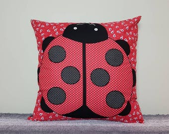 SALE! Red Ladybird Cushion Cover 45x45cm. *cover only, pad not included* ladybird pillow, ladybug pillow, ladybug cushion, nursery pillow.