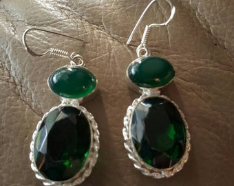 Chryoprase  and Green Quartz Earrings!