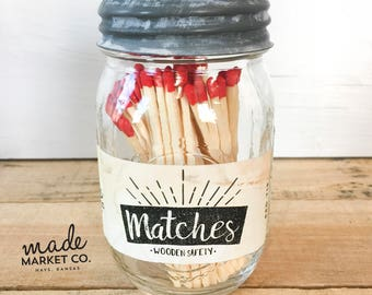 Red Tip Colored Matches. Match Sticks Decorative Mason Jar. Farmhouse Nordic Home Decor. Unique Gifts for her. Best Seller Most Popular Item