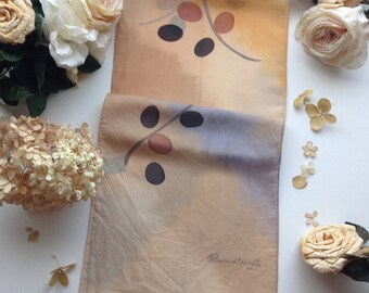 Vintage Orange and Grey Remoy D'Urville Silk Scarf, Designer Silk Scarf, Long Silk Scarf, Flower Prints Silk Scarf, Fringe Silk Scarf
