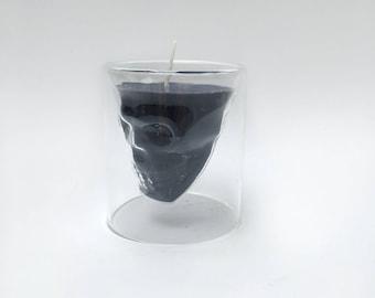 Love & Whiskey, candle skull whiskeyglass