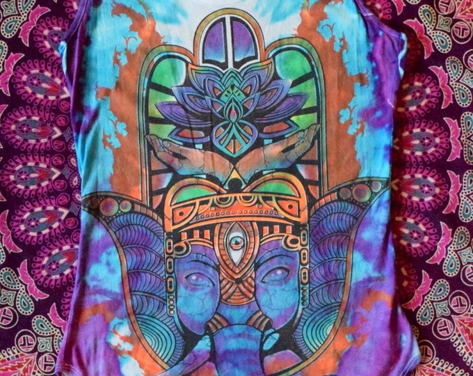 Ahimsa Non-Harming Third Eye Elephant Protection Cosmic Cove Tie-Dye Collaboration Woman's Tank