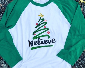 Believe BLING raglan tshirt