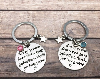 Christening gift godmother keychain - Every princess deserves a godmother - Personalized keyring gift - Christening Gift Naming Day Baptism