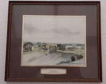 Watercolour print, Hugh Brandon Cox, The Still Farm, 1980s signed print. English artist. 1970s, Art and Collectibles
