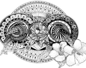 BIRDS ON BRANCH (original black ink animal illustration with bohemia patterns and zen mandala, print)