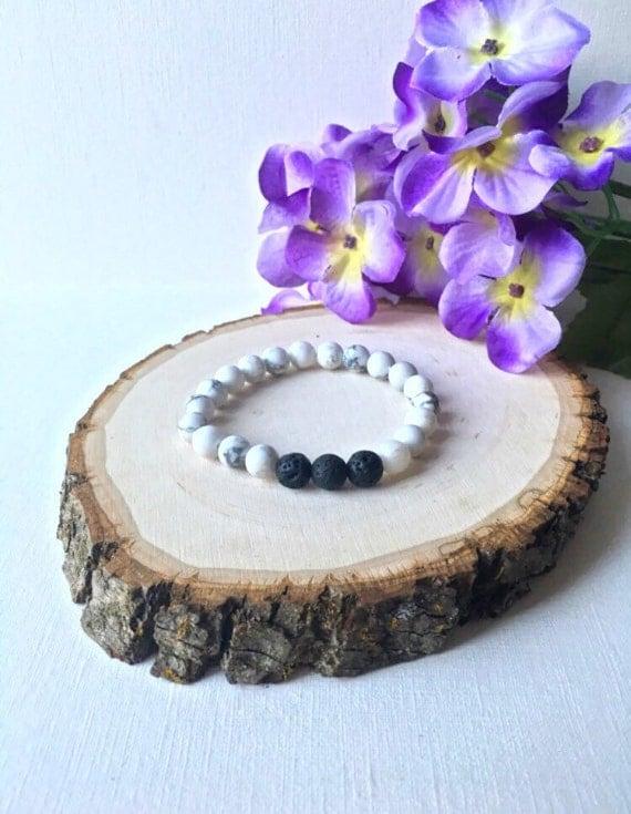 Essential Oil Diffuser Bracelet - Lava Rock and White Howlite Bead Stretch Bracelet - 8mm Lava stone, 8mm White Howlite Round Gemstone