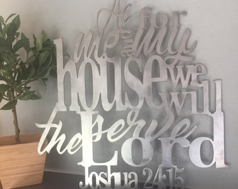 "Joshua 24:15 Metal Verse Sign Verse Scripture Decor ""As For Me and My House"""