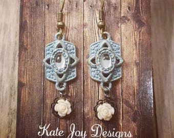 Vintage Mirror Flower Earrings