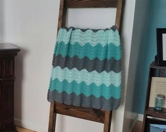 Feather and Fan Crochet Baby Blanket in mint, jade, and gray