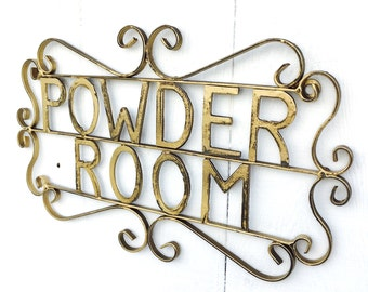 Metal Iron Powder Room Sign,Plaque,Art,Decal,Kitchen Signs,Girl Gifts,Metal Sign,Wall Decor,Antique,Home and Garden,Cute,Bathroom Decor