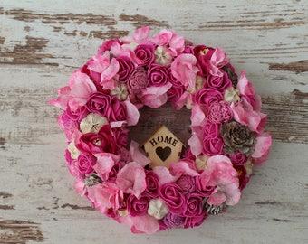 Front door wreath, flower door wreath, housewarming gift, bridal shower gift, baby room decor, baby shower gift, pink door wreath,door decor
