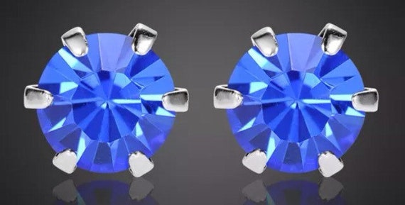 Sapphire Crystal Stud Earrings  December birthstone Large size