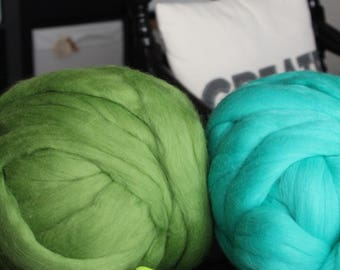 Big Yarn, Teal Green Black Brown Shades, Giant Super Bulky Chunky Yarn, Big Stitch Merino Wool, 1-2 week turnaround