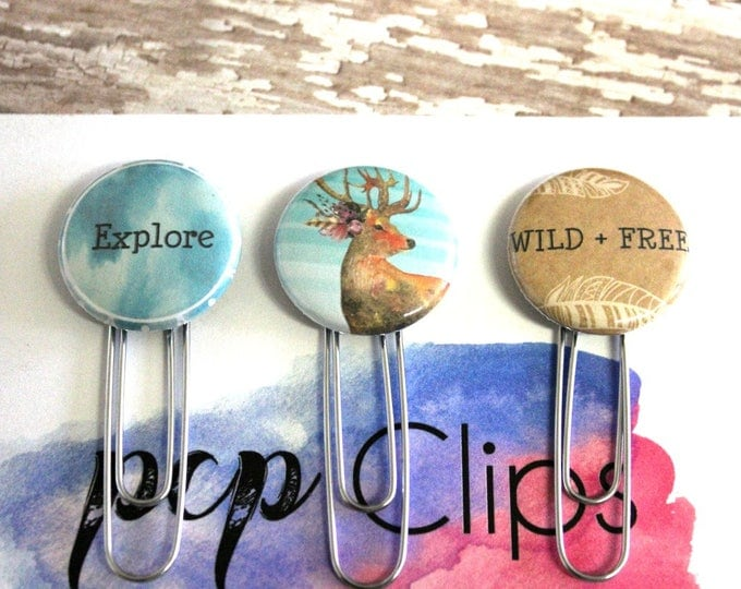 Planner Clips - Planner Clip set - Flair planner clip - Explore clip - Deer Clip - Stag Clip - Wild and Free Clip - bookmark - Set of 3