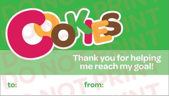 girl scout cookies thank you business cards printable