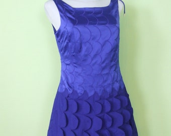 80s dress / silk / fish scales / blue/purple / size M  / vintage / 60s retro / short dress