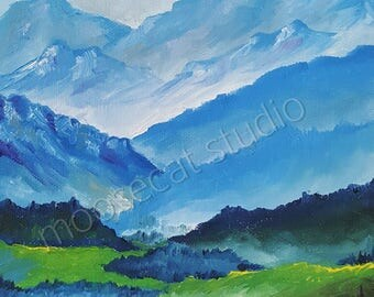 Blue and Green Landscape in Oil - 8x10 Print