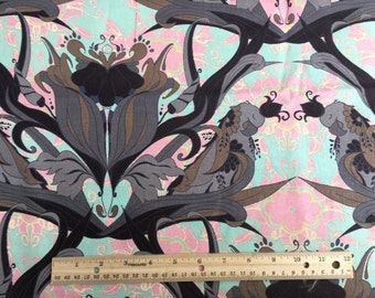 """Large teal, pink and black print fabric, By the Half Yard, 54"""" wide,"""