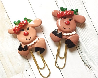 Glam Reindeer with Bow and Pearls Planner Clip - Planner Accessories - Bookmark - Christmas Gift