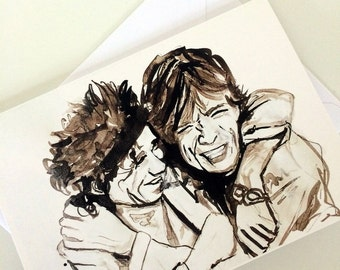 Rolling Stones Mick Jagger & Keith Richards Note/Greetings Card/Invitation