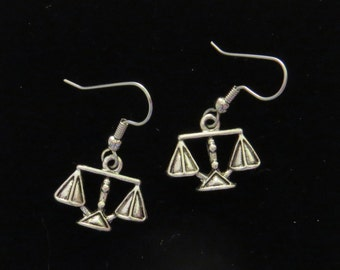 Attorney Lawyer Scales Justice Earrings Law Judge 24 Karat Gold Plate or Oxidized Matte Silver EG271 / ES233