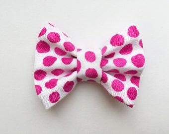 MINI Purple Polka Dot Bow, baby headband, baby hair clip, baby hair bow, baby girl, girl toddler, headband, hair bow, baby gift